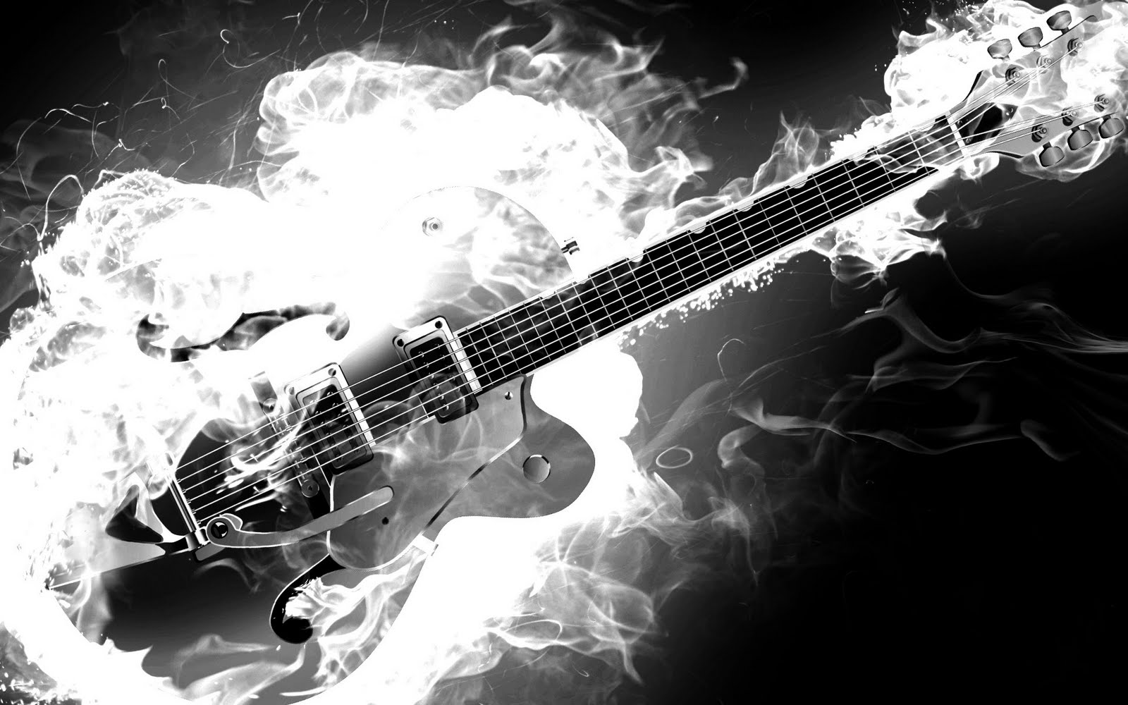 Rockabilly Guitar On Fire Monochrome Black And White Smoke Flames HD Music Desktop Wallpaper 1920x1200 Great Sound
